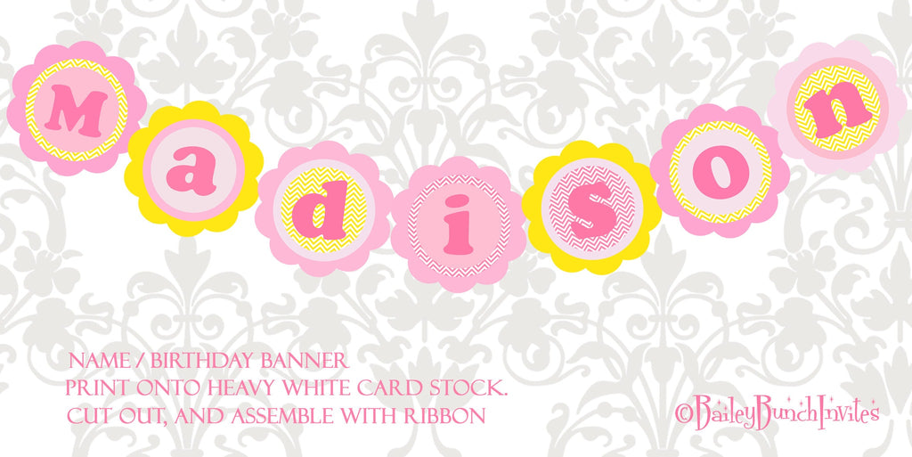You are my Sunshine XL Birthday Name Banner PINK & YELLOW SUNNAMEBNR0520