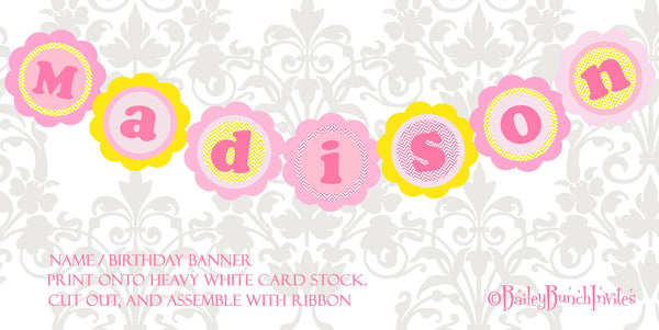 You Are My Sunshine Xl Birthday Name Banner Pink Amp Yellow