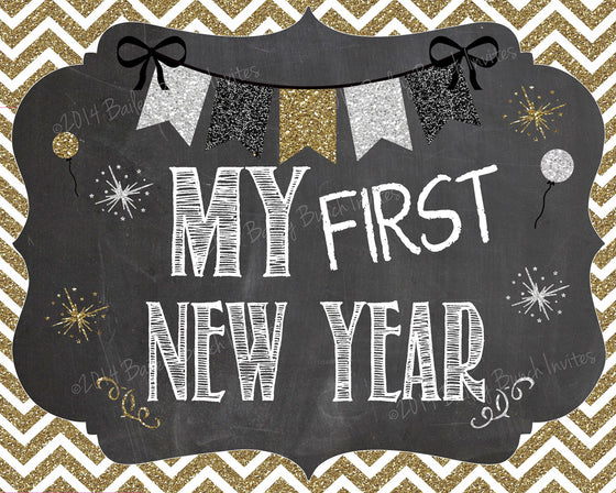 Baby's 1st New Year Chalkboard Signs - INSTANT DOWNLOAD ID1STNYRCHALK0520