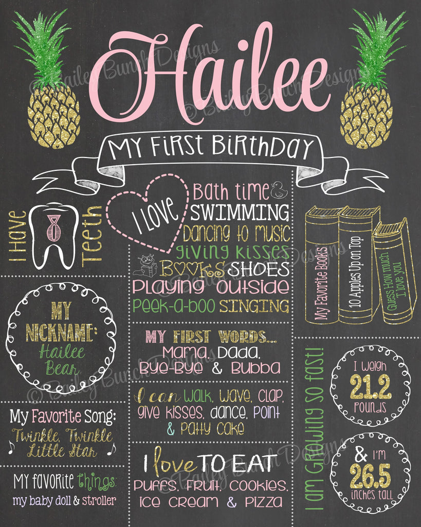 PINEAPPLE Birthday Chalkboard, PINEAPPLECHALK0520
