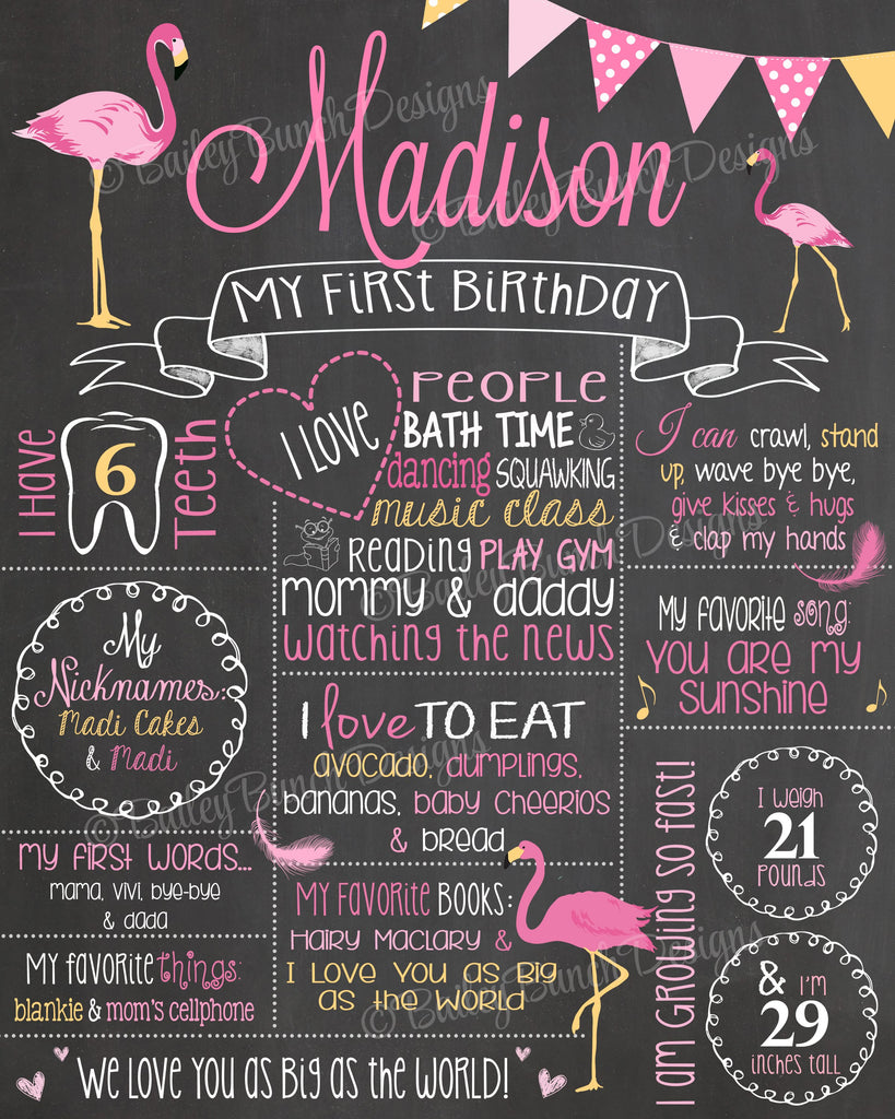 PINK FLAMINGO Birthday Chalkboard, PFLAMYELLOWCHALK0520