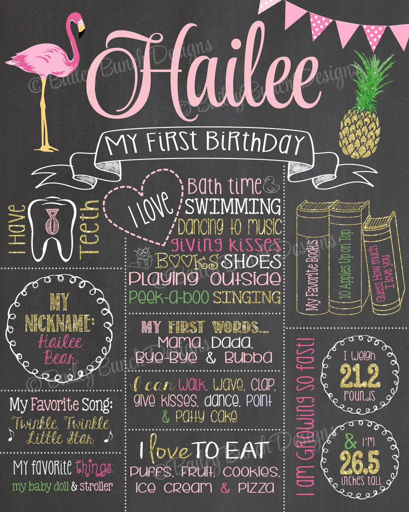PINK FLAMINGO PINEAPPLE Birthday Chalkboard, FLAMPINECHALK0520