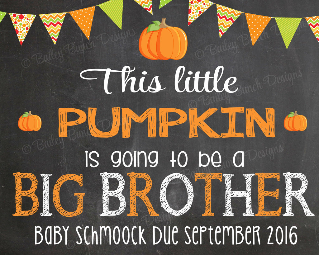 Pregnancy Reveal Announcement Chalkboard Sign, Big Sister, Big Brother FALLP0520