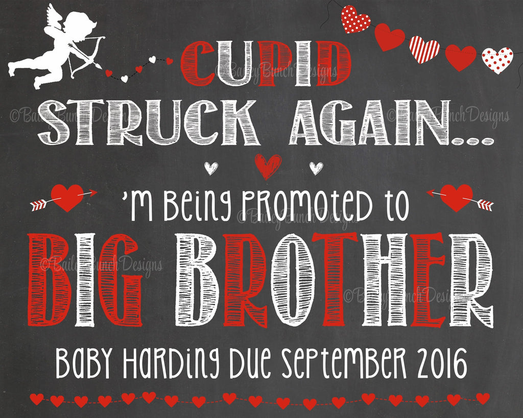 Pregnancy Reveal Announcement Big Sister Big Brother, Chalkboard Sign, Valentine Pregnancy VDAYCUPID0520