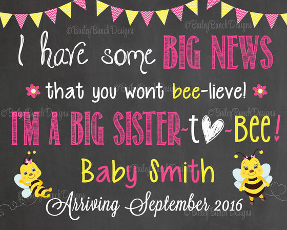 BEE Pregnancy Reveal Announcement Big Sister Big Brother, Chalkboard Sign, BEECHALK0520