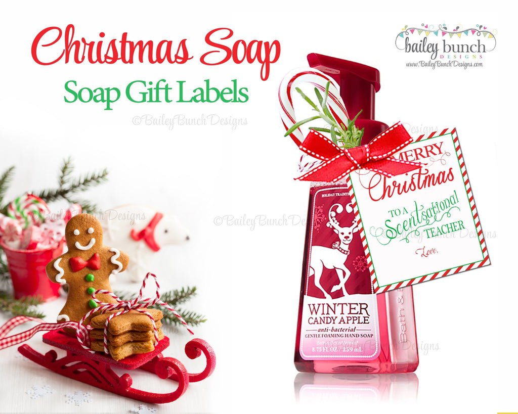 Soap Gift Labels, Teacher Christmas Gift IDSOAP0520
