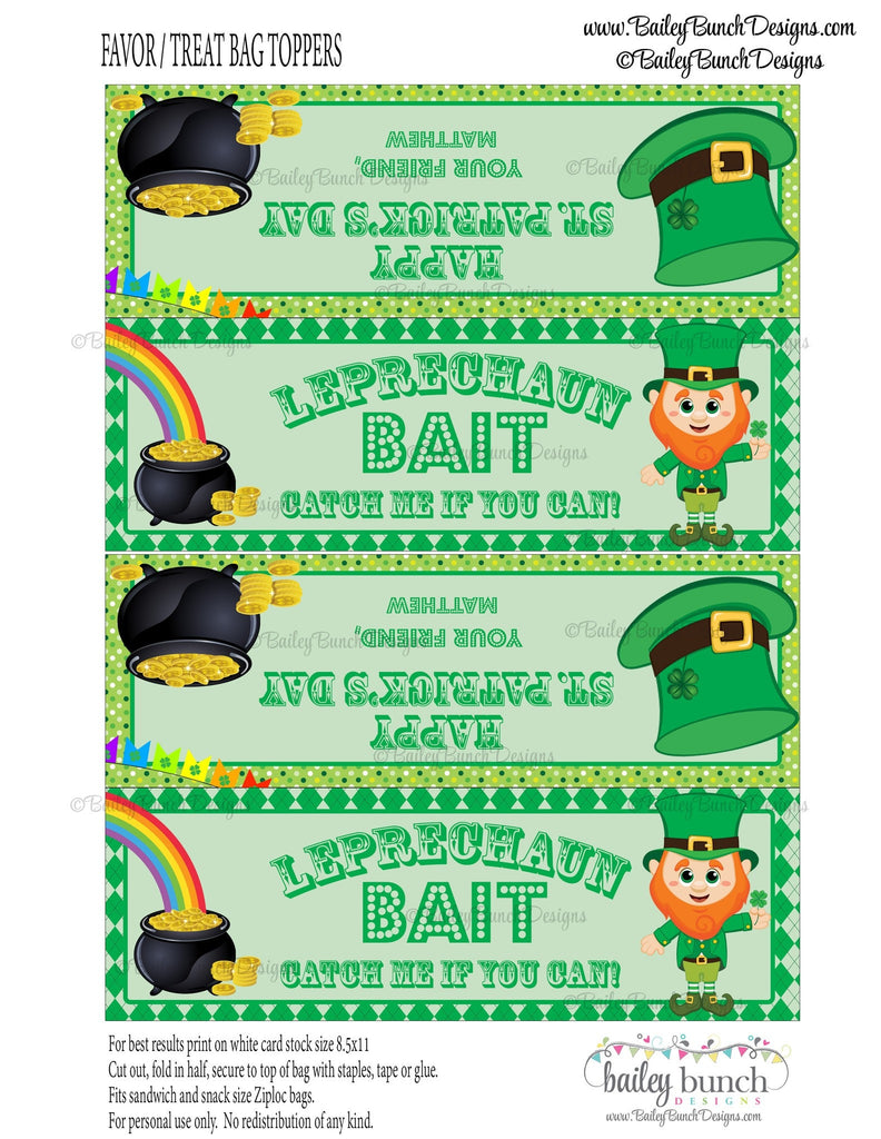 Leprechaun Bait St. Patrick's Day Treat Tags, LEPRECHAUN0520