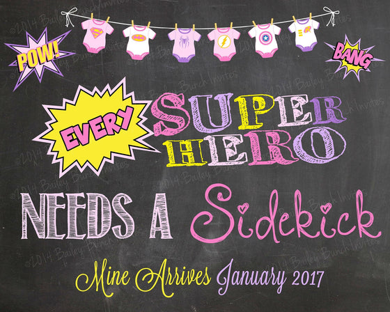 Every Superhero needs a Sidekick Pregnancy Reveal Chalkboard, Announcement, Super Hero - HERO0520