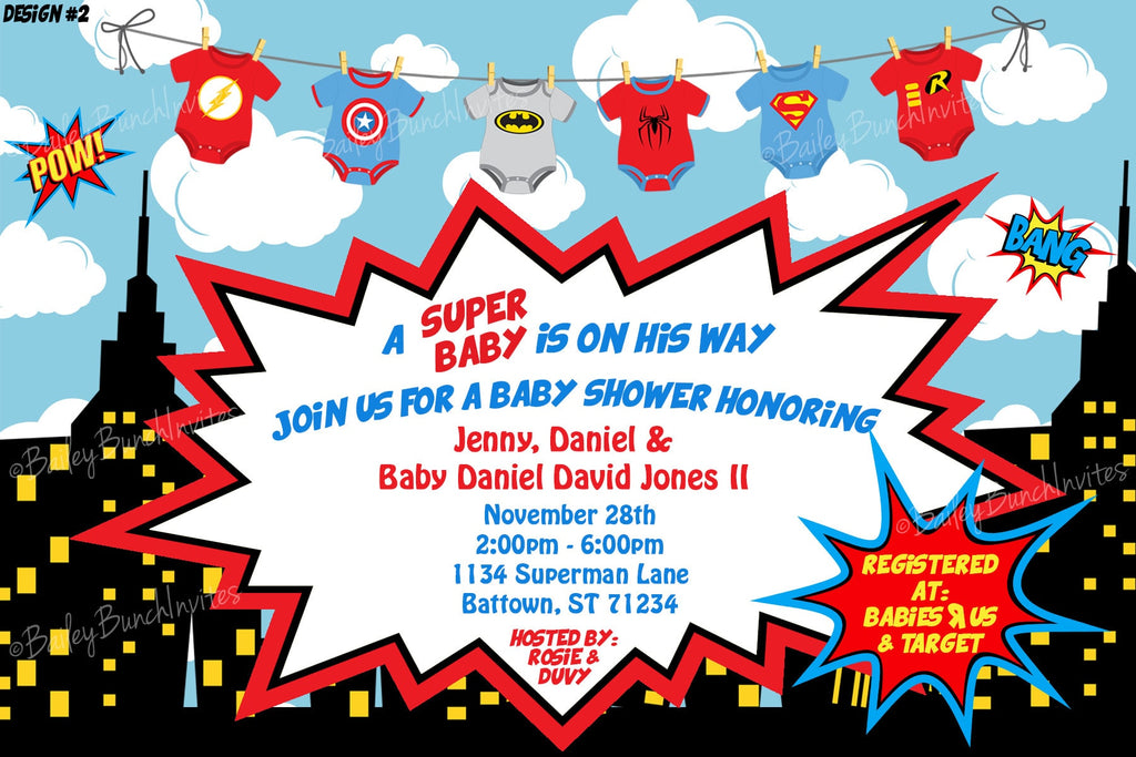 Superhero Baby Shower Invitations BABYHEROINVITE0520