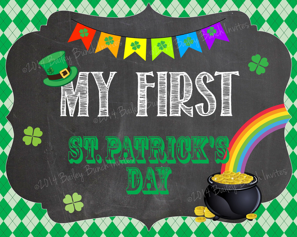 Baby's 1st St. Patrick's Day Chalkboard Signs - INSTANT DOWNLOAD ID1SSTPCHALK0520