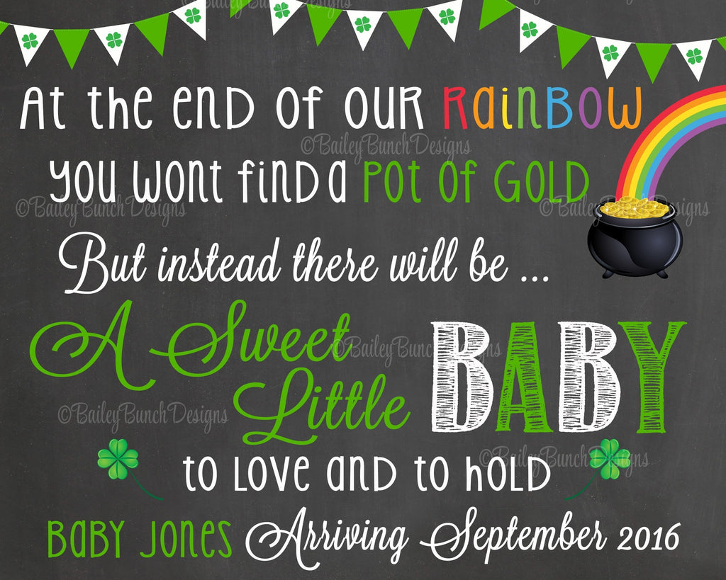 Pregnancy Reveal Announcement Chalkboard Sign, St. Patrick's Day Pregnancy STPCHALK0520