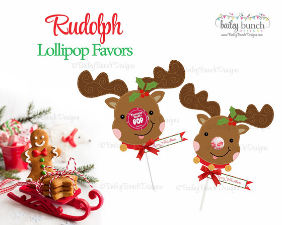 Reindeer Sucker Favor Tags, Christmas Tags IDSUCKER0520