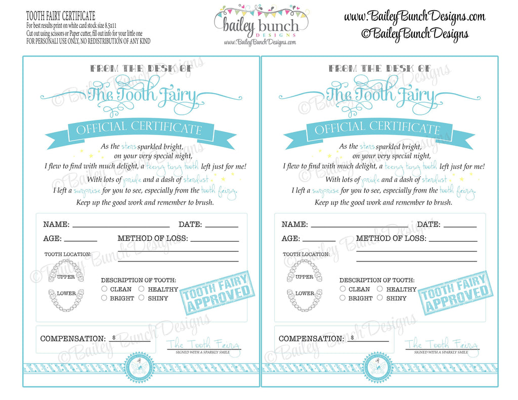 Tooth Fairy Certificate - BLUE - INSTANT DOWNLOAD IDTOOTHBLUE0520