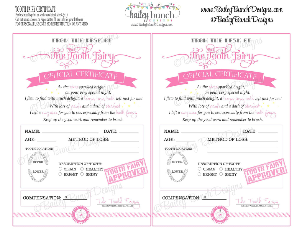 Tooth Fairy Certificate - PINK - INSTANT DOWNLOAD IDTOOTHPINK0520