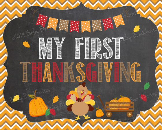 Baby's 1st Thanksgiving Day Chalkboard Sign - INSTANT DOWNLOAD ID1STNKSHALK0520