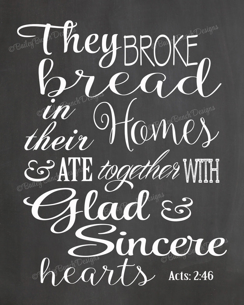 Scripture Wall Art, They Broke Bread, Home Decor - INSTANT DOWNLOAD IDBREADCLK0520
