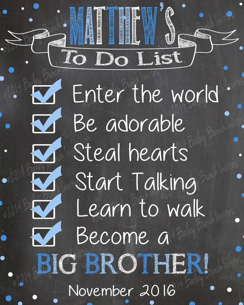 Pregnancy Reveal Announcement Chalkboard Sign, Big Sister, Big Brother to do list TODOLIST0520