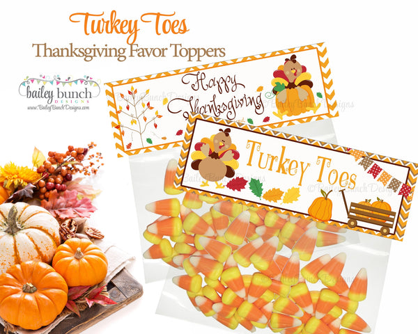 Thanksgiving Turkey Toes Treat Bags Toppers Happy
