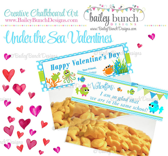 Under the Sea Treat Bag Toppers, Valentines VDAYSEA0520