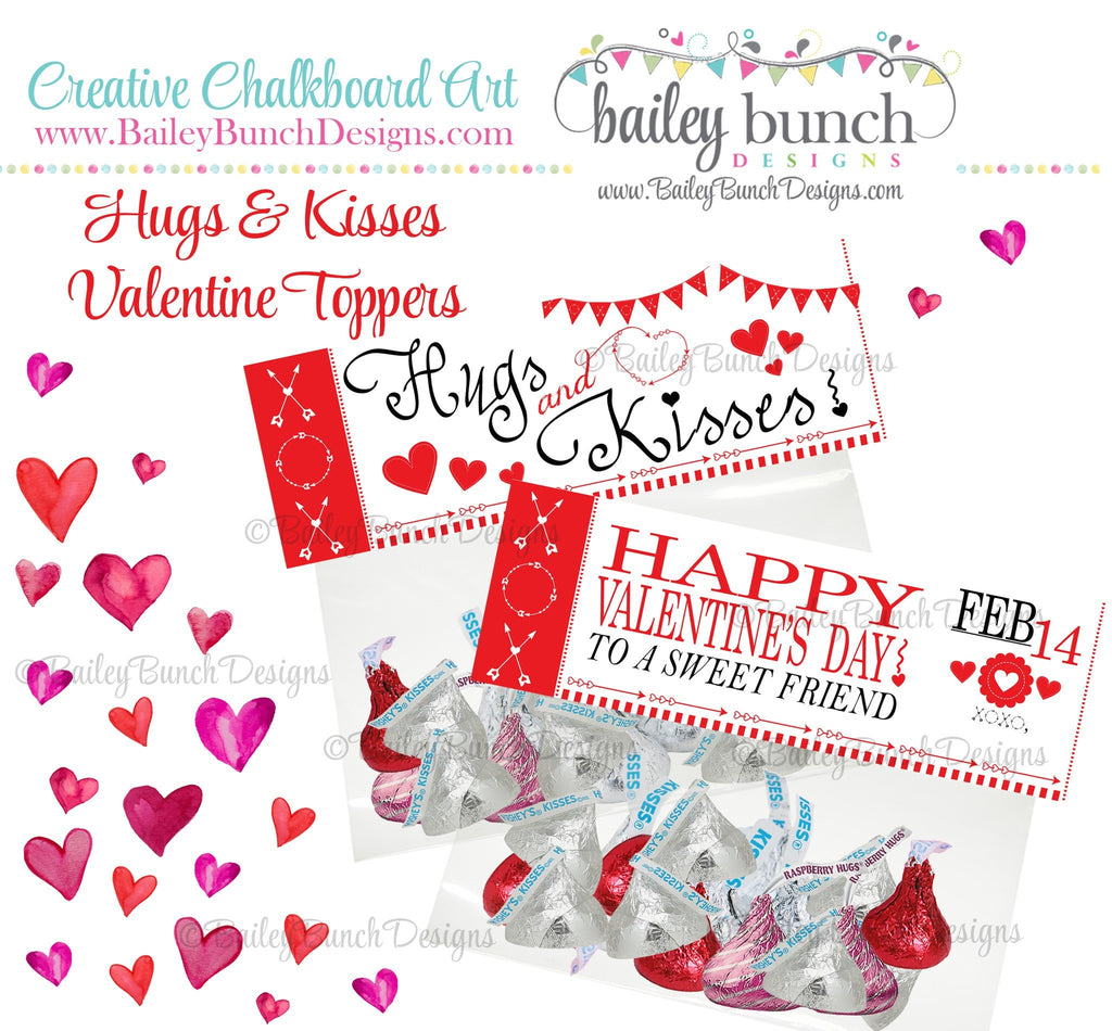 Hugs & Kisses Bag Toppers, Valentines IDVDAYKISS0520