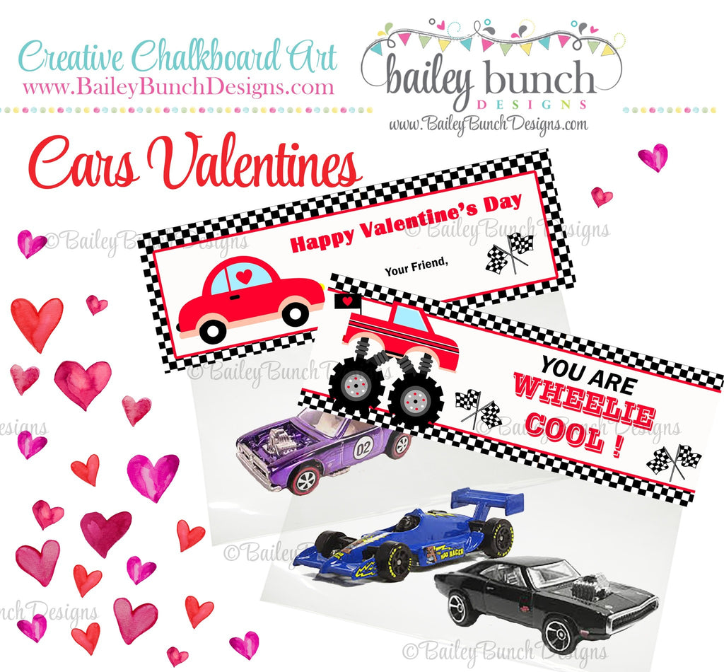 Wheelie Cool Car Treat Bag Toppers, Valentines IDVDAYCAR0520