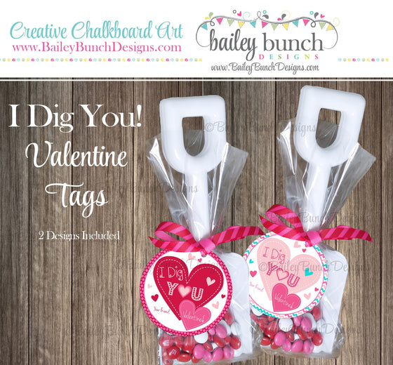 I Dig You Shovel Valentine Treat Tags, Pink, Red Valentines IDVDAYDIGPINK0520