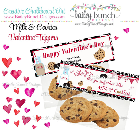 We go together like Milk & Cookies Bag Toppers, Valentines VDAYCOOKIE0520