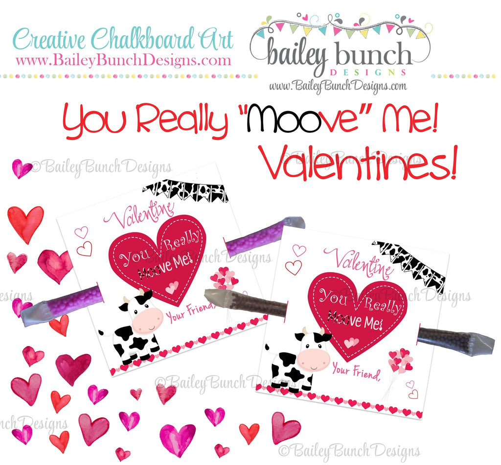 "You Really ""Moo""ve Me Cow Treat Bag Toppers, Valentines IDVDAYCOW0520"