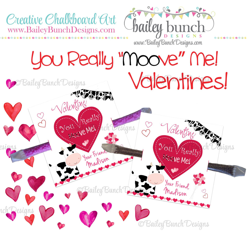"You Really ""Moo""ve Me Cow Treat Bag Toppers, Valentines VDAYCOW0520"