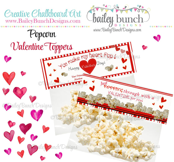 You make my heart Pop Bag Toppers, Valentines VDAYPOPCORN0520