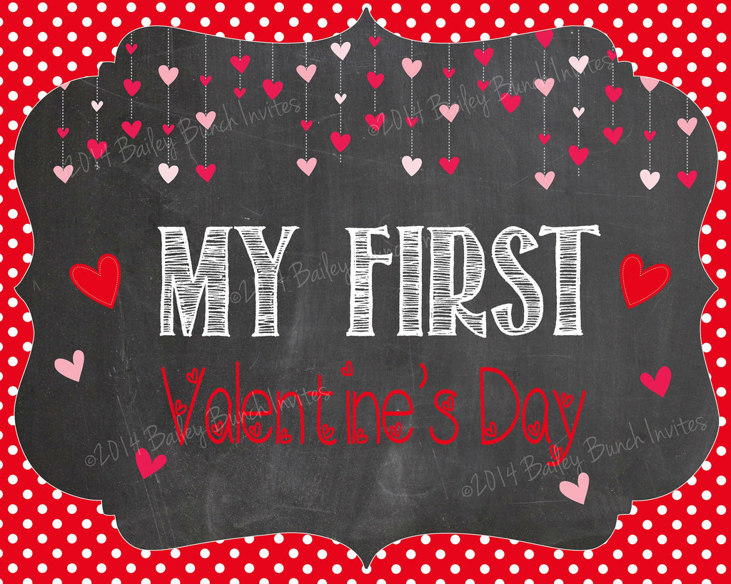 Baby's 1st Valentine's Day Chalkboard Sign - INSTANT DOWNLOAD ID1STVDAYCHALK0520