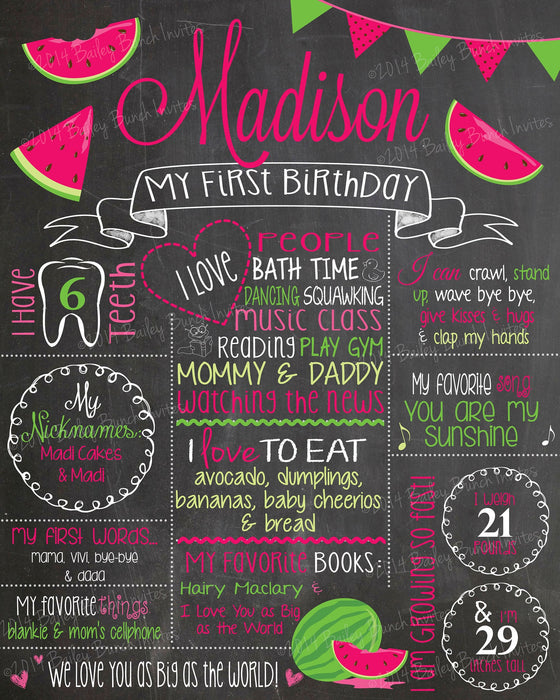 Watermelon Birthday Chalkboard, MELONCHALK0520