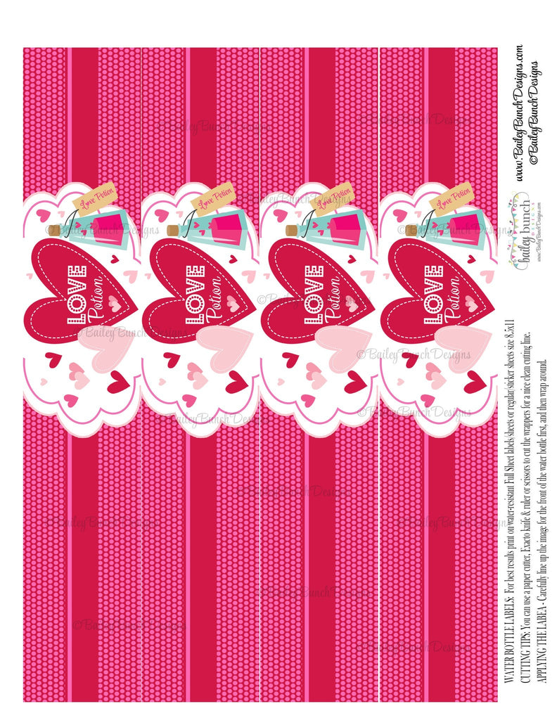 Love Potion Valentine Water Bottle Labels, Valentines IDVDAYPOTION0520