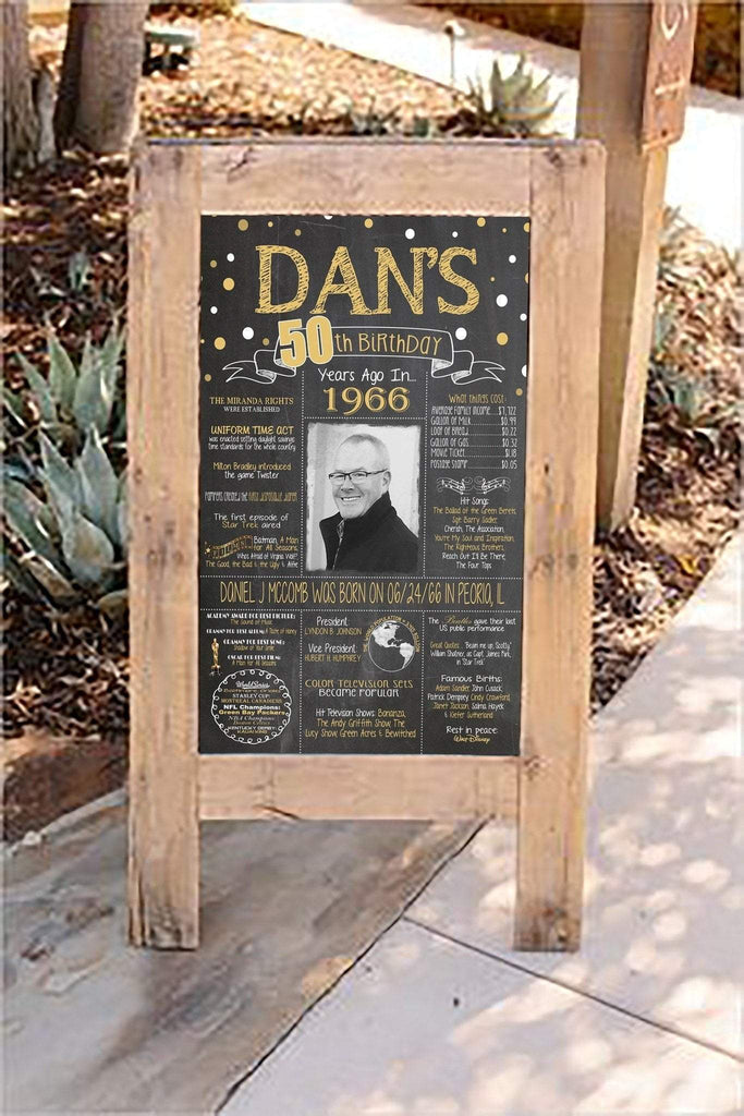 New Design - Birthday Sign, 55th Birthday Photo Chalkboard, Back in 1964 Board 55PIC19540520