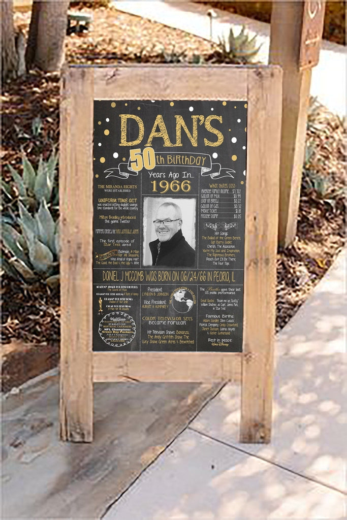 New Design - Birthday Sign, 50th Birthday Photo Chalkboard, Back in 1969 Board 50PIC19890520