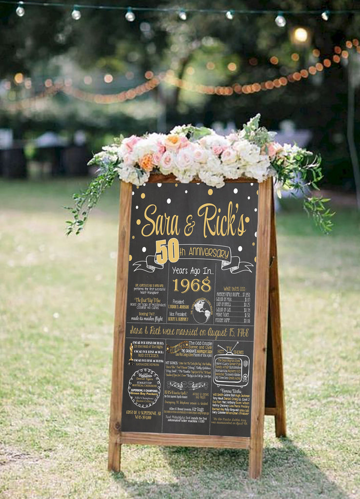 50th Wedding Anniversary Chalkboard 1968 ANNIV50CHALK0520