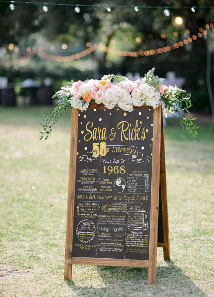 2020 New Design - Anniversary Sign, 55th Wedding Anniversary Chalkboard, Back in 1965 Board ANN55YR0520