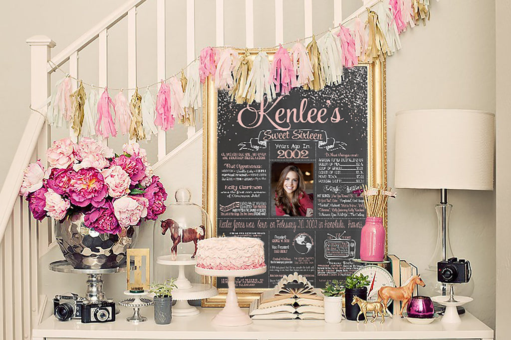 2019 New Design - Birthday Sign, Sweet 16, 16th Birthday PHOTO Chalkboard, Back in 2003 Board 16YR20030520