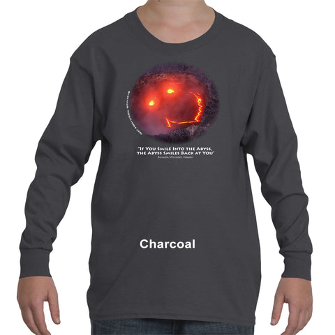 """If You Smile into the Abyss, the Abyss Smiles Back at You"" Children's long sleeve with white ink"