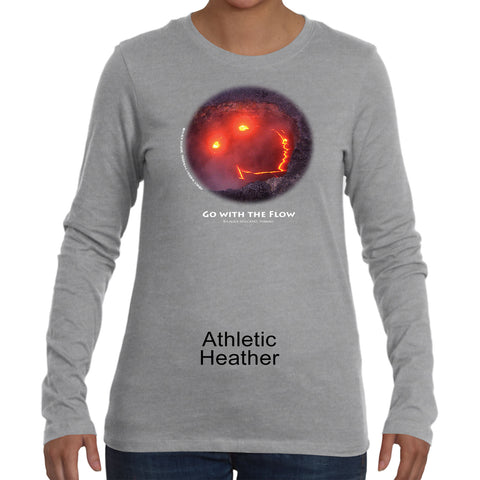 """Go With the Flow"" Women's long sleeve with white ink"