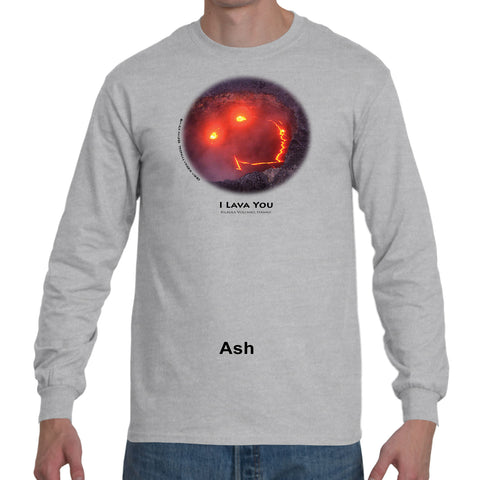 """I Lava You"" Men's long sleeve t-shirt offered with black ink"