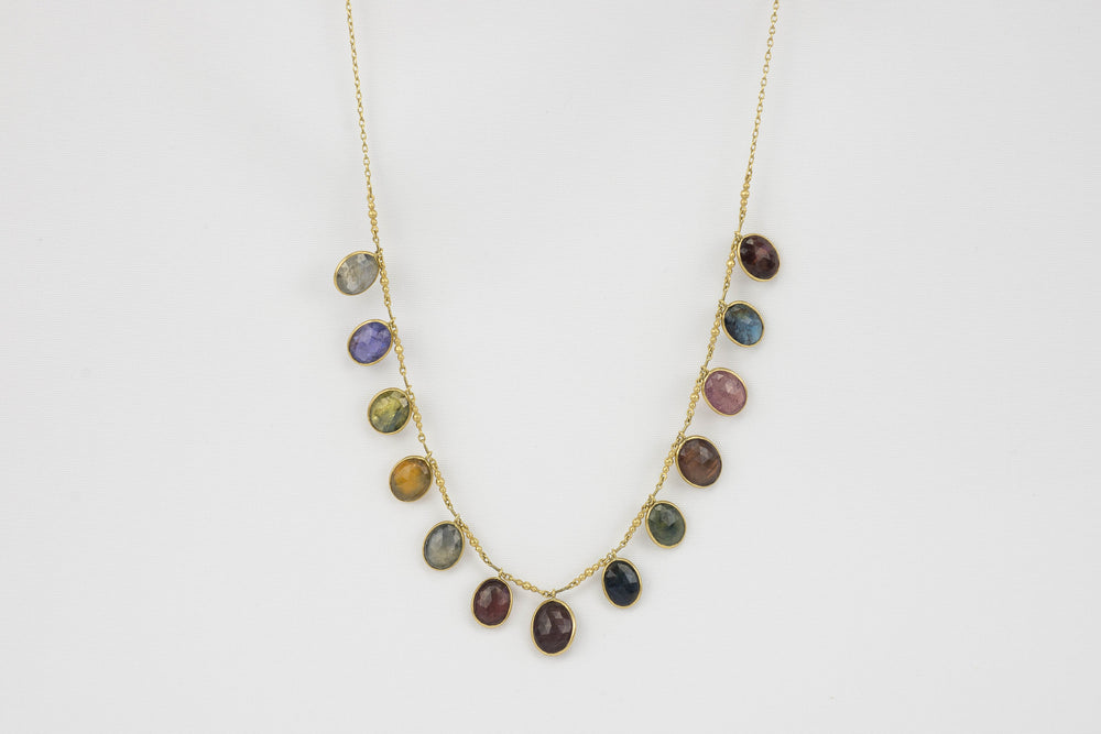 Load image into Gallery viewer, Kothari Sapphire Oval Fringe Necklace | OK