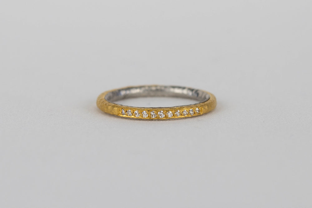 Yellow Gold + Platinum Diamond Band