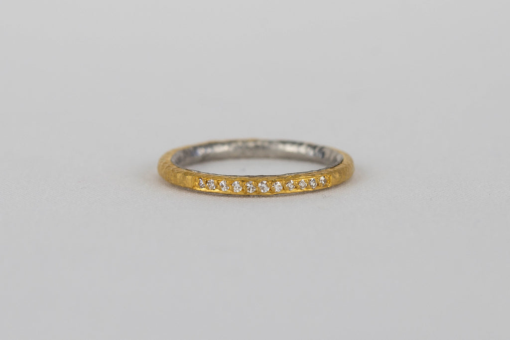 Malcolm Betts 22k Yellow Gold + Platinum Diamond Band | OK