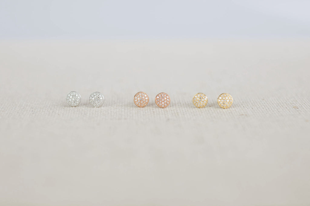Pave Button Studs | OK