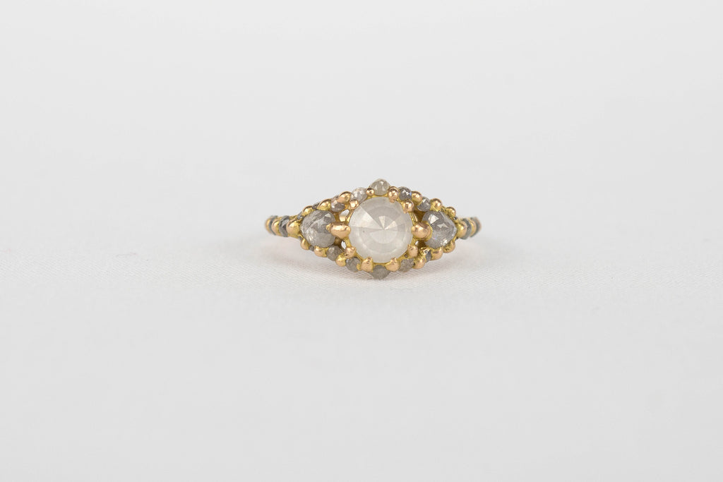 Polly Wales Opaque Diamond Halo Ring | OK