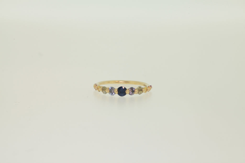Polly Wales Rainbow Sapphire Halo Ring | OK