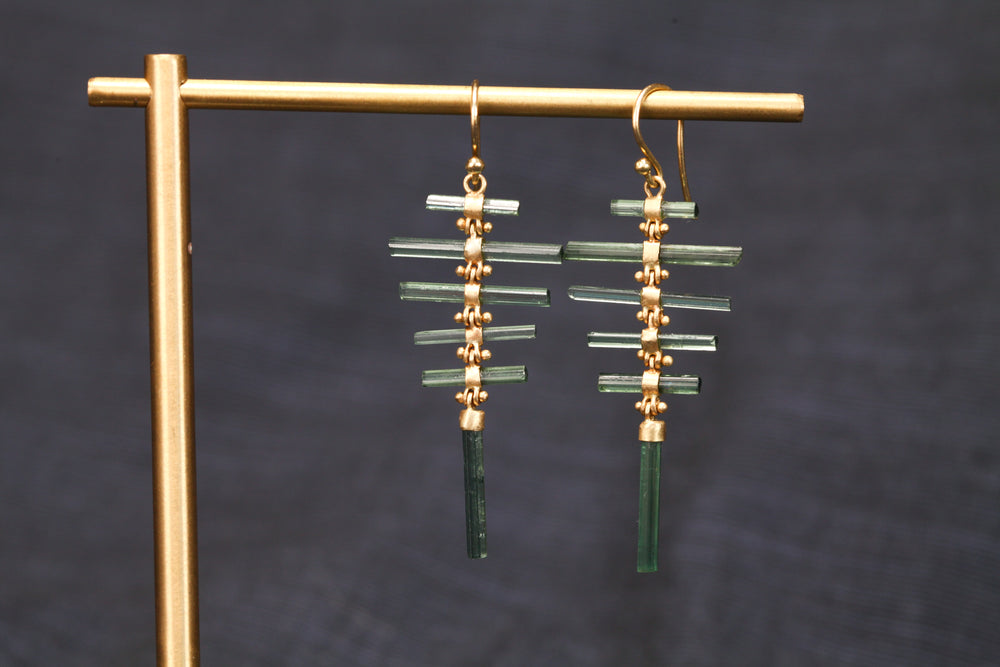 Tourlamine Fishbone Earrings