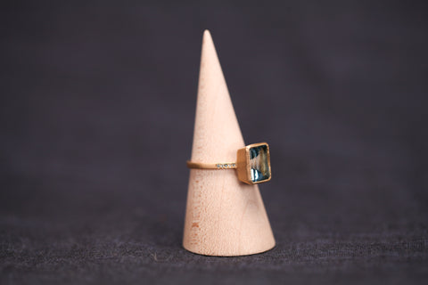 <small>Jennifer Dawes</small><br>Blockette Blue Topaz Cocktail Ring