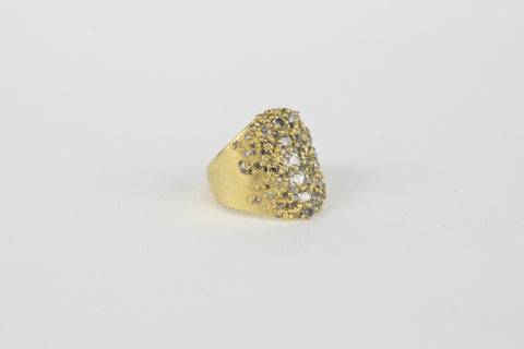 <small>Polly Wales</small><br>Vertical Cluster Shield Ring